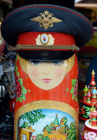 Matryoshka in a police cap on the market in Izmailovo Kremlin in Moscow