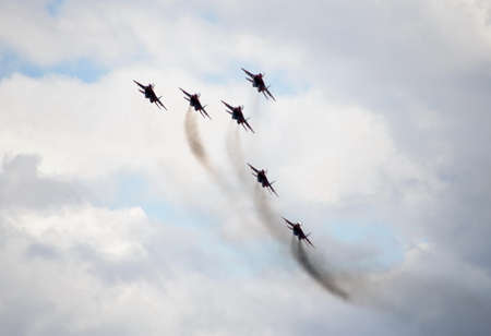 MiG-29 fighters over the Myachkovo airfield Performance of the Swifts aerobatic team on the multi-purpose highly maneuverable