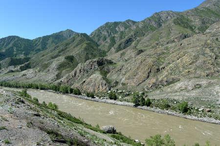 Mountain river Katun near the village of Altai