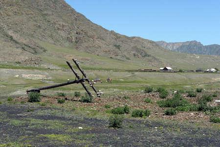 Mountain village of Inia in the Altai Republic