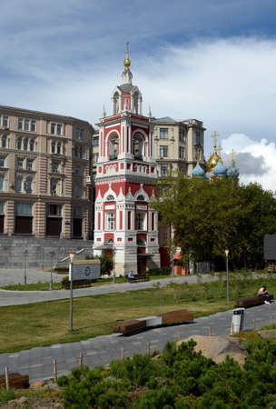 The belltower of the church of St. George the Victorious on the Pskov mountain from the park Zaryadye in Moscow Editorial