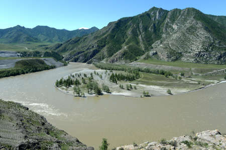 Place of the confluence of the rivers Katun and Chuya in Altai mountains. Siberia, Russia