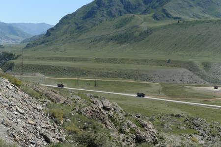 Dump trucks in the Chui-Katun valley. altai republic