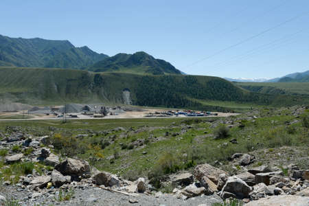 Industrial site of road builders in the area of ??Chui-Katun valley. altai republic Stock Photo