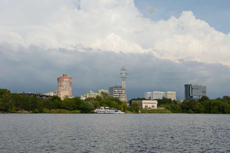 View of Golovinsky district of Moscow from Khimki reservoir