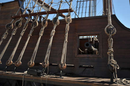 Cannon on Board of a Spanish Galleon Editorial