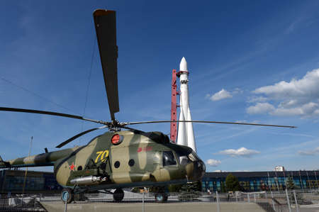 Mi-8T transport assault helicopter space rocket at the All-Russian Exhibition Center