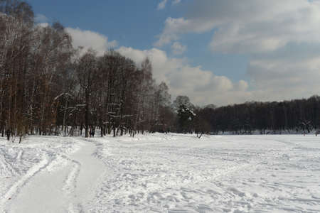 Winter Shibaevsky pond in the natural-historical park