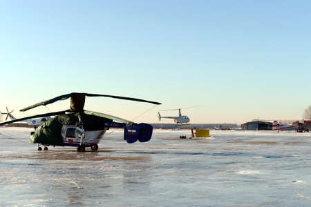 Helicopters on the airfield near Moscow Myachkovo