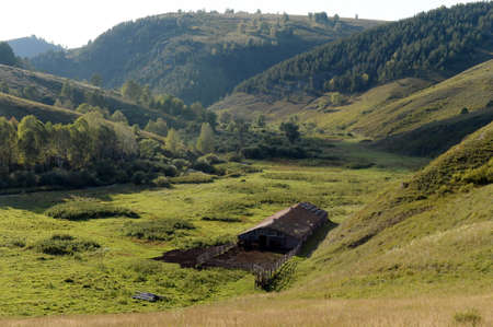 Pferdehof am Rande des Taiga-Dorfes Generalka Altai. Russland