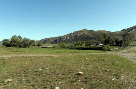 The outskirts of the mountain village Chinet Altai Krai. Western Siberia