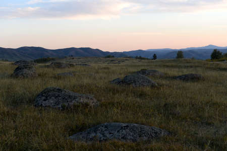 An evening in the Altai mountains near the Charysh River. Western siberia