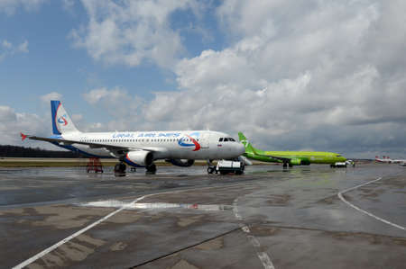 Airplanes at Moscow Domodedovo International Airport Editorial
