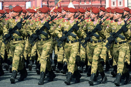 Soldiers of the Dzerzhinsky division of the national guard troops at the dress rehearsal of the parade on red square in honor of Victory Day Editorial