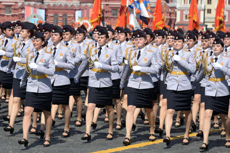 Female cadets of the Moscow University of the Ministry of internal Affairs of Russia at the dress rehearsal of the parade on red square in honor of Victory Day Editorial