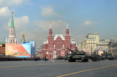 Russian main battle tank T-72B3 at the dress rehearsal of the parade on red square in honor of Victory Day