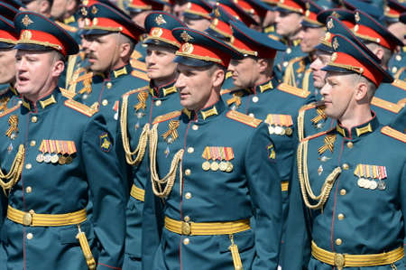 Officers of the Combined arms Academy of the Armed Forces of the Russian Federation at the dress rehearsal of the parade on red square in honor of Victory Day