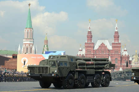 Multiple rocket launchers Smerch on red square at the dress rehearsal of the parade on red square in honor of Victory Day Editorial