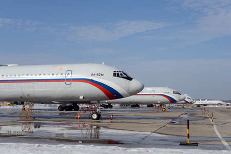 Airplanes IL-62M of the Russian Space Forces at the Chkalovsky airfield