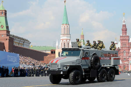 Soldiers of the National Guard on the Ural-VV armored car at the dress rehearsal of the parade on Red Square in honor of Victory Day