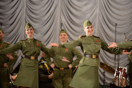 The dance group of the song and dance ensemble of the internal troops of the Ministry of internal Affairs of Russia performs