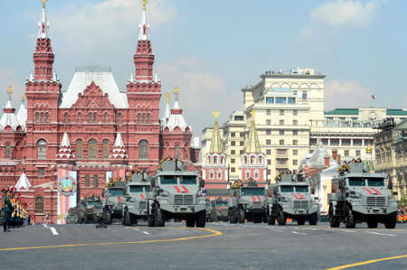 Column of armored vehicles of the national guard troops at the dress rehearsal of the parade on red square in honor of Victory Day