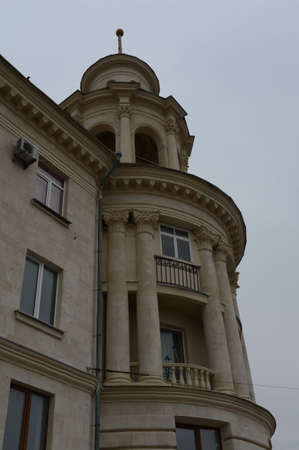 Fragment of a house with a spire on Pushkin street in Sevastopol