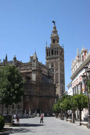 Giralda bell tower of Seville Cathedral, the largest Gothic Cathedral in Europe