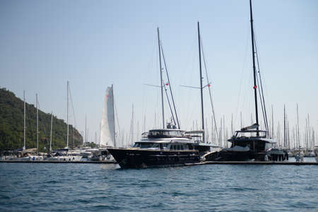 Yachts at the Marina of the yacht club in the Turkish city of Marmaris 스톡 콘텐츠