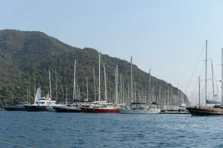 Sea sailboats at the Marina of the yacht club in the Turkish city of Marmaris