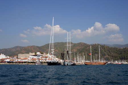 Sea vessels at the pier of the city of Marmaris. Turkey 版權商用圖片
