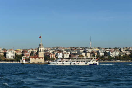 Maiden Tower in the middle of the Bosphorus Strait in Istanbul, Turkey