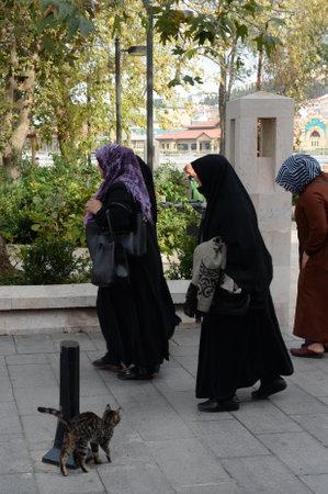 People on Eyup Iskele Street in the Eyupsultan district of Istanbul. Turkey