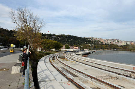 Construction of a metro line along the Golden Horn in the Eupsultan district of Istanbul, Turkey 新聞圖片