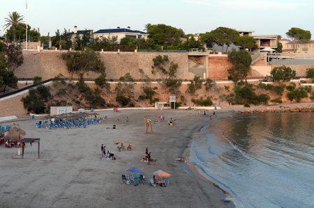 Evening beach of Playa de Cabo Roig in Orihuela Costa. Spain