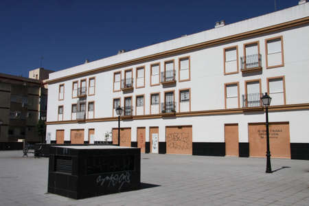 Modern building with garages in Seville 版權商用圖片