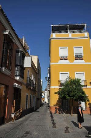 An old narrow street in summer Seville