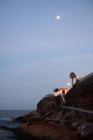 Costa Blanca night coast in Orihuela Costa. Spain 版權商用圖片