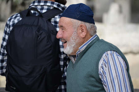 Unknown elderly man on the street in Istanbul
