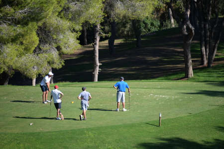 People play Golf on the course in Orihuela. Spain