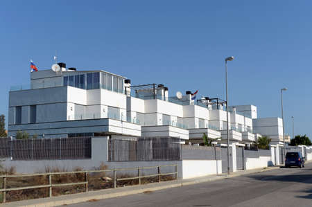 Residential residence on the Costa Blanca in Orihuela. Russian flag on the building. Spain