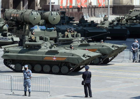 Upgraded infantry fighting vehicles BMP-2M on Okhotny Ryad during the parade dedicated to the 75th anniversary of Victory in the great Patriotic war