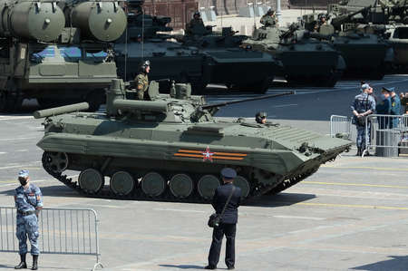Upgraded infantry fighting vehicle BMP-2M on Okhotny Ryad during the parade dedicated to the 75th anniversary of Victory in the great Patriotic war