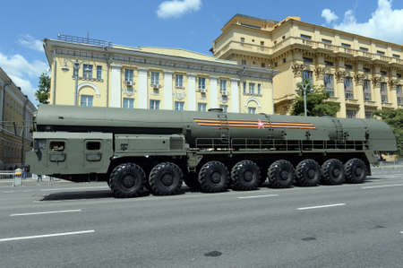 The Yars strategic missile complex on Mokhovaya Street in Moscow during the parade dedicated to the 75th anniversary of Victory in the Great Patriotic War Editorial