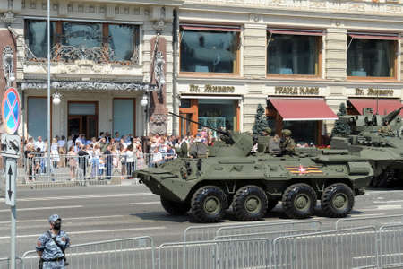 BTR-82A armored personnel carrier on Mokhovaya street during the parade dedicated to the 75th anniversary of Victory in the great Patriotic war