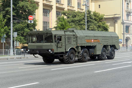 9k720 Iskander-M tactical missile system on Moscow's Mokhovaya street during a parade dedicated to the 75th anniversary of victory In the great Patriotic war