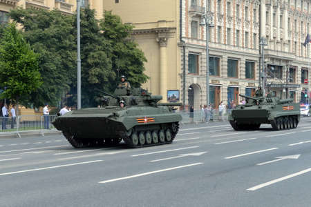 Upgraded infantry fighting vehicles BMP-2M on Moscow's Mokhovaya street during the parade dedicated to the 75th anniversary of the Victory
