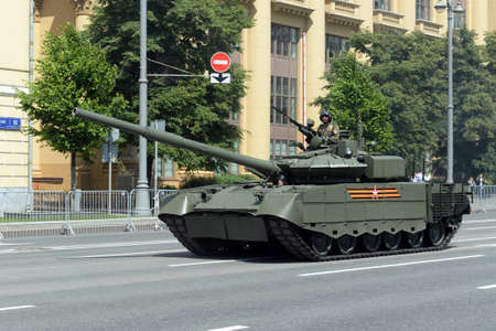 Tank T-80BVM on Mokhovaya Street in Moscow during the parade dedicated to the 75th anniversary of Victory in the Great Patriotic War Editöryel