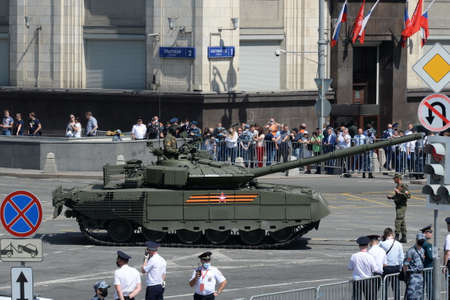 Tank T-80BVM on Okhotny Ryad during the parade dedicated to the 75th anniversary of Victory in the Great Patriotic War