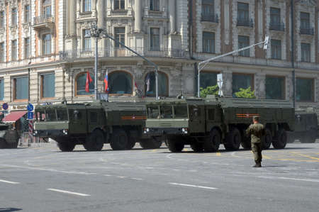 The 9K720 Iskander-M operational-tactical missile system on a Moscow street during the dress rehearsal of the parade dedicated to the 75th anniversary of Victory Editorial